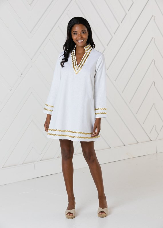SAIL TO SABLE WHITE LONG SLEEVE A-LINE CLASSIC TUNIC DRESS