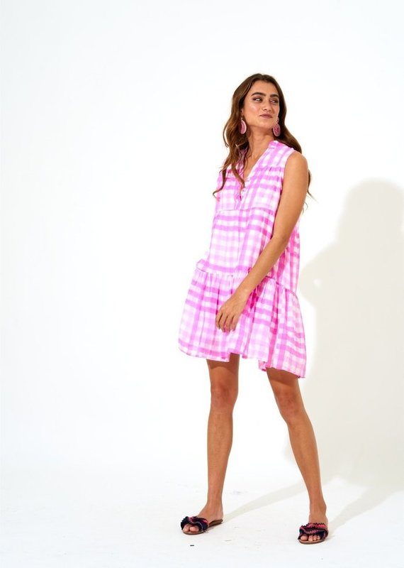 OLIPHANT BUTTON NECK DRESS- GINGHAM PINK