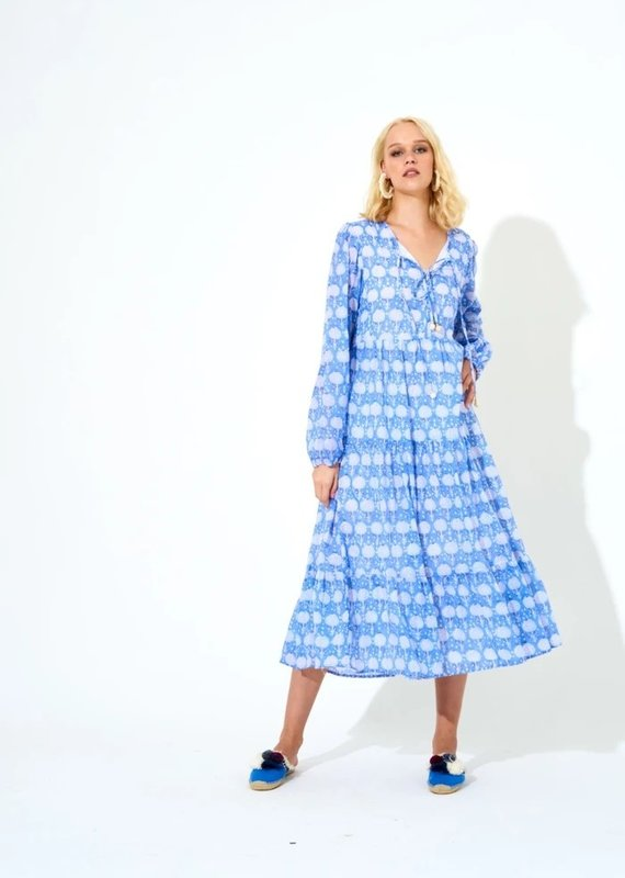 OLIPHANT LONG SLEEVE MIDI DRESS- KERACHI BLUE