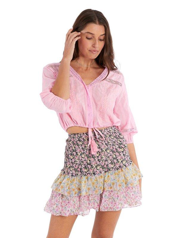 allison NY Floral smocked mini skirt