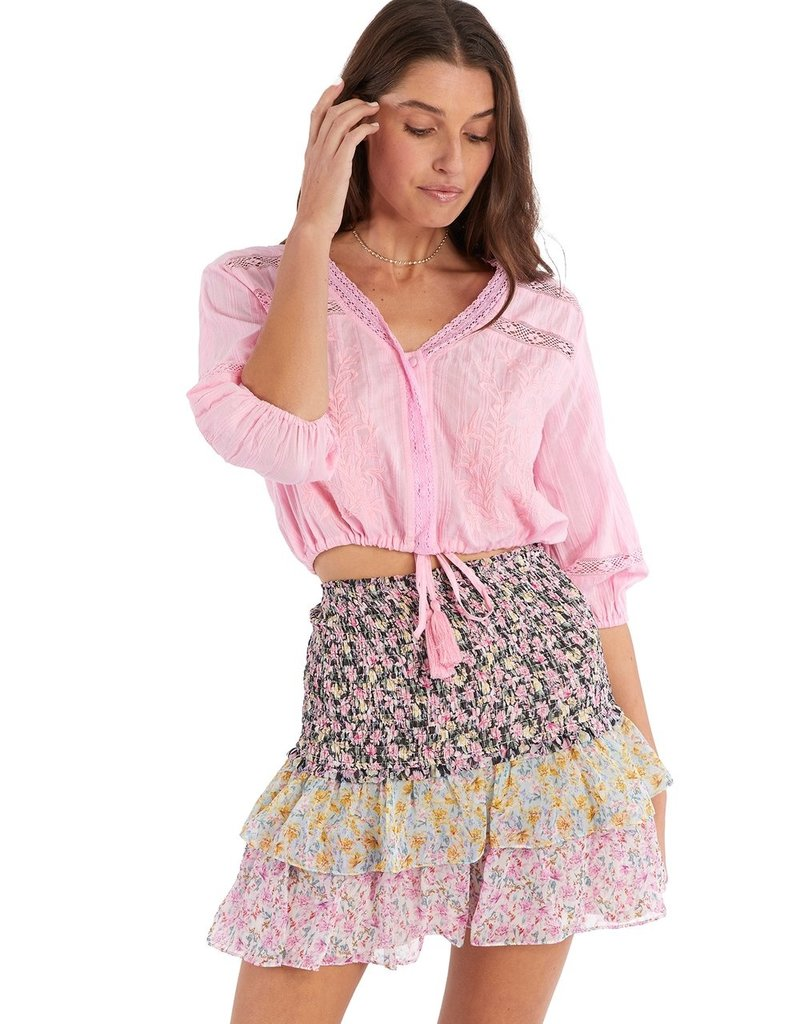 allison NY sa21004c3 floral smocked mini skirt