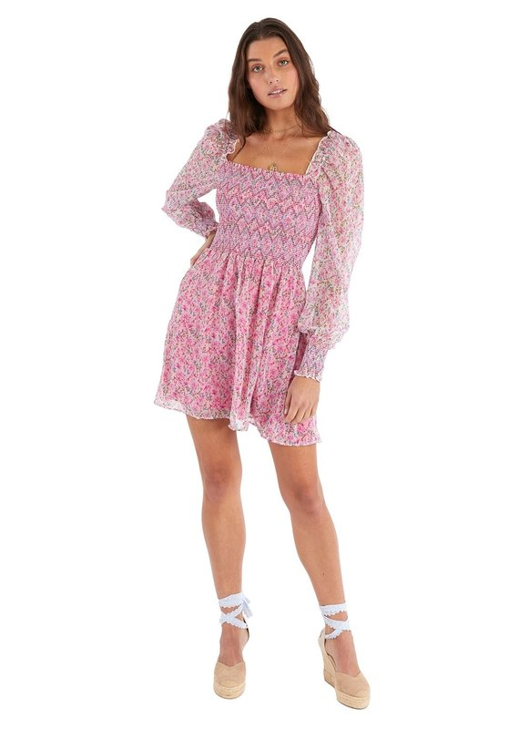 allison NY Smocked floral mini dress