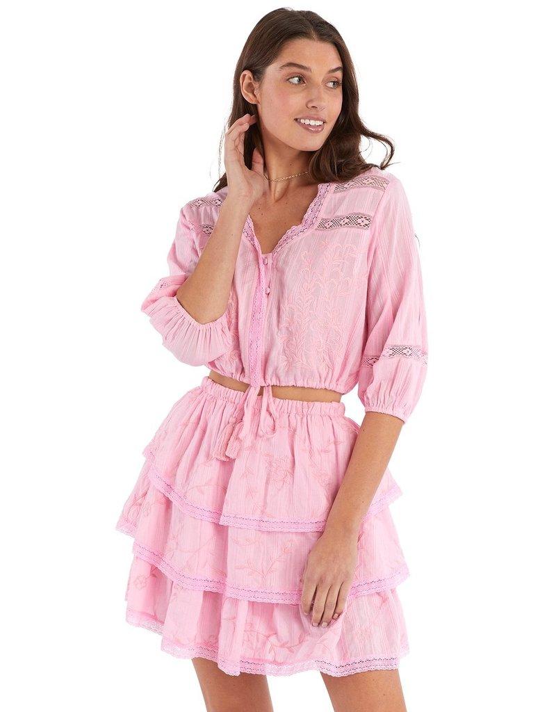 allison NY sa21501kb Embroidered tiered skirt