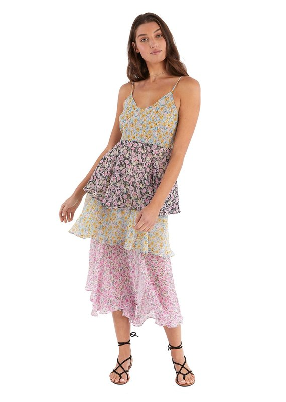 allison NY Mixed floral tiered dress