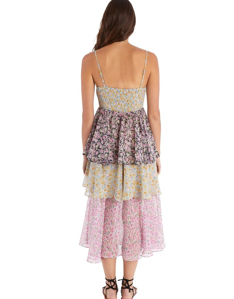 allison NY sa21010c2 mixed floral tiered dress
