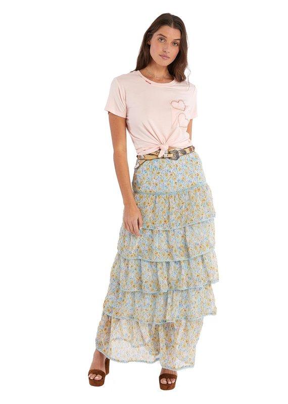 allison NY Tiered maxi skirt