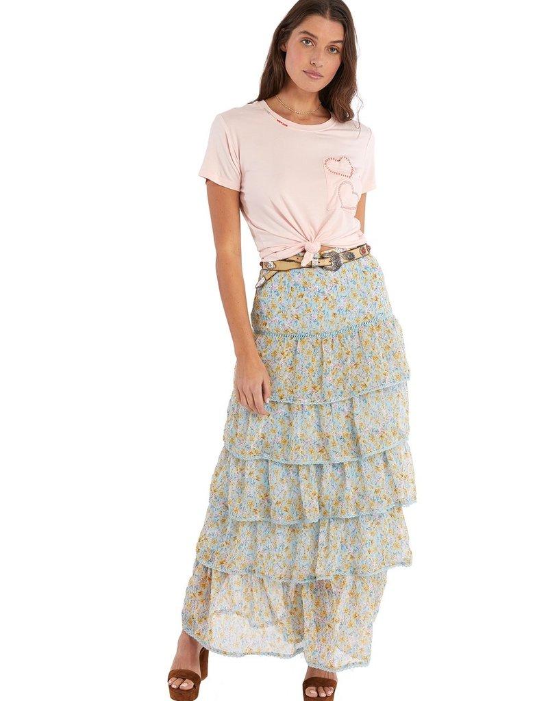 allison NY sa21017c Tiered maxi skirt