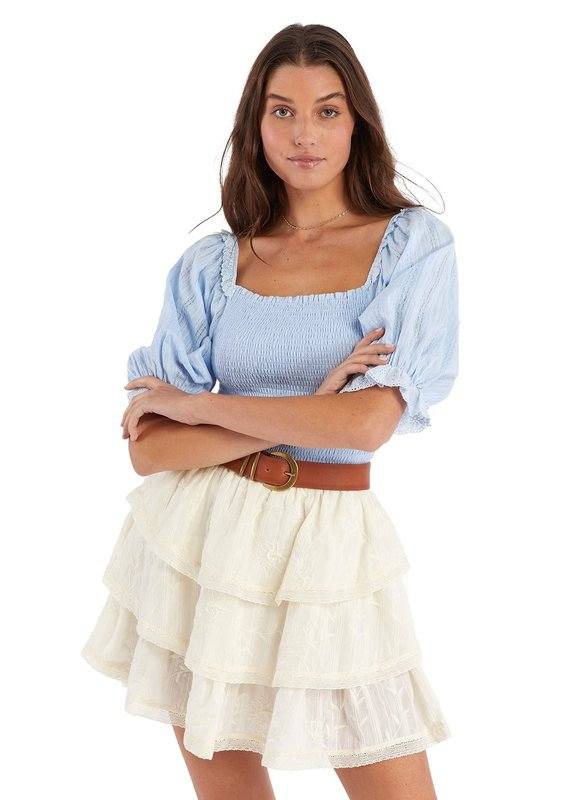 allison NY Embroidered tiered skirt