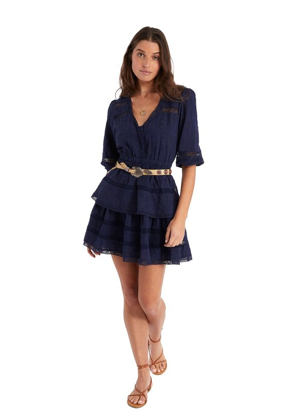 allison NY Embroidered Tiered Dress