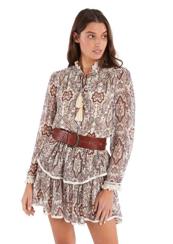 allison NY Paisley print tiered mini skirt