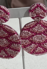 PREPPY GIRL pink beaded 2 tone disc ear