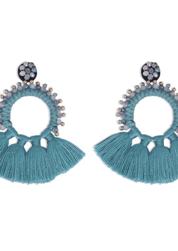 CB Designs fringe earring blue