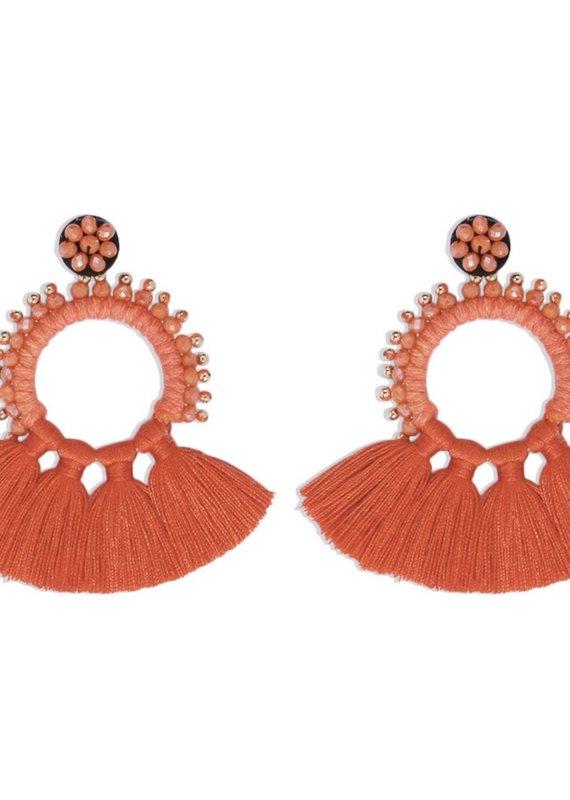 CB Designs fringe earring coral