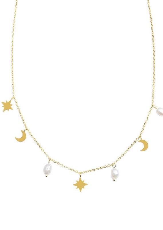 CB Designs freshwater pearl charm necklace