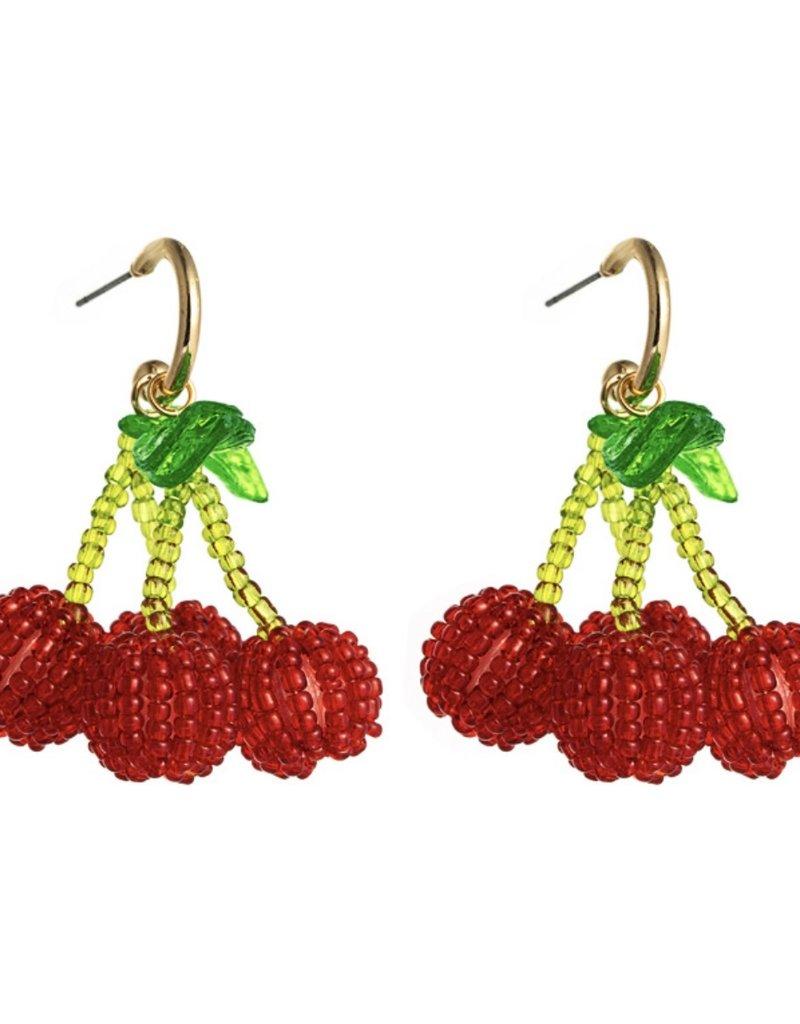CB Designs cherry hoop earrings