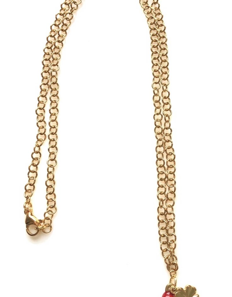 CB Designs multi charm necklace red
