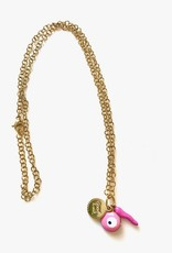 CB Designs multi charm necklace pink