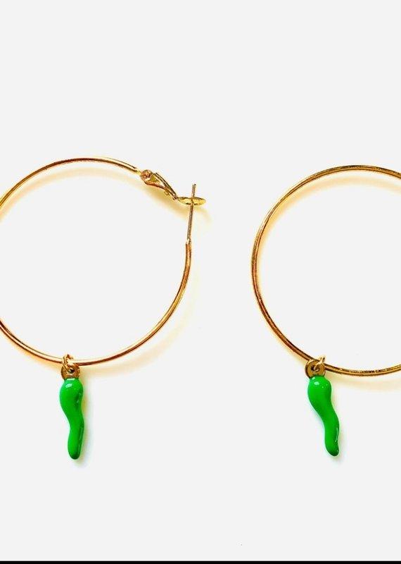 CB Designs hoop earrings with horn green