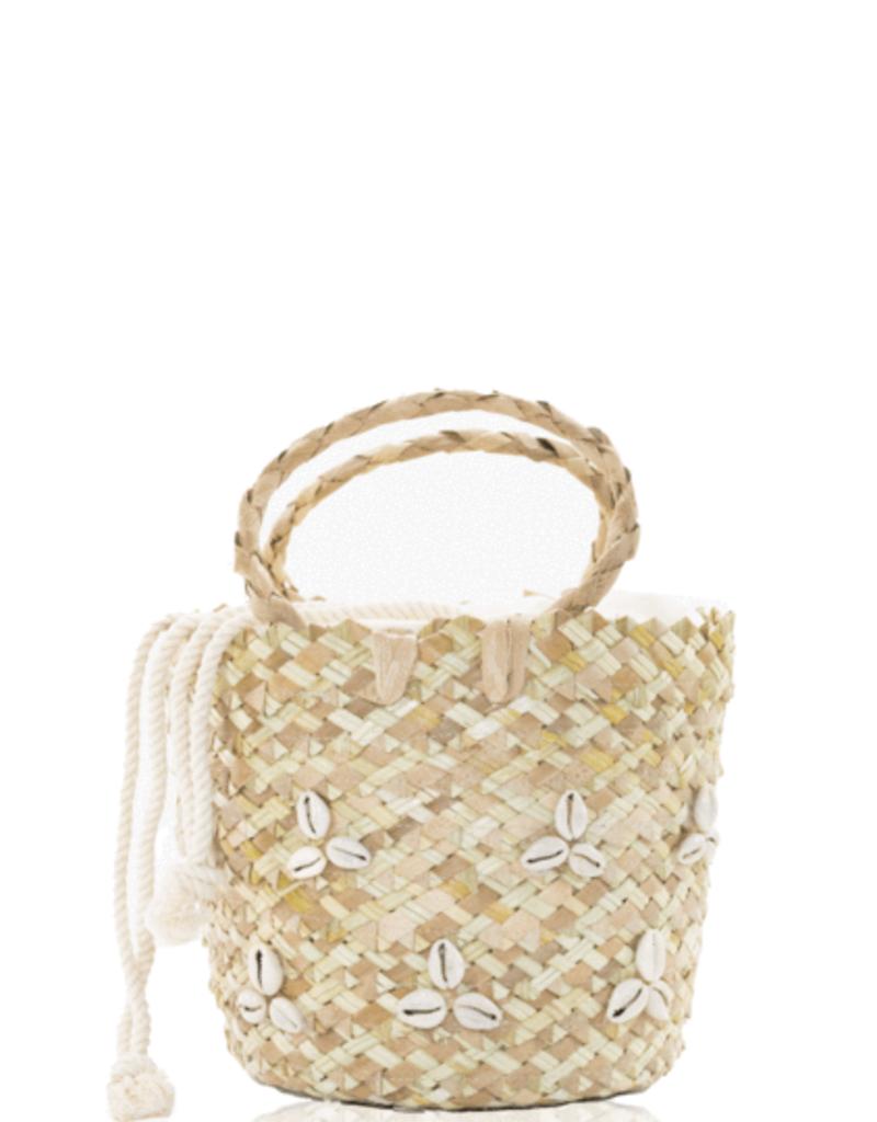 JOSEPHINE ALEXANDER Mauritius cowrie shell bucket bag