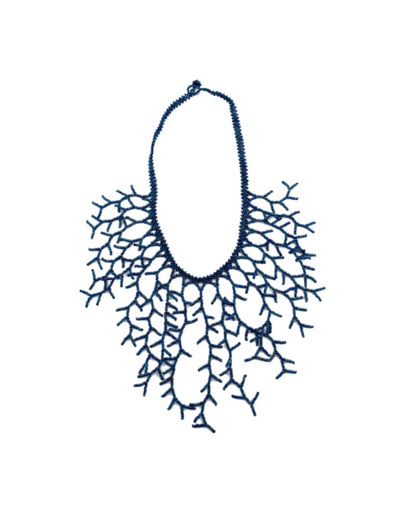 JOSEPHINE ALEXANDER Beaded ocean necklace in iridescent blue