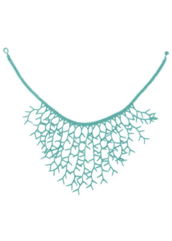 JOSEPHINE ALEXANDER Beaded ocean necklace in teal