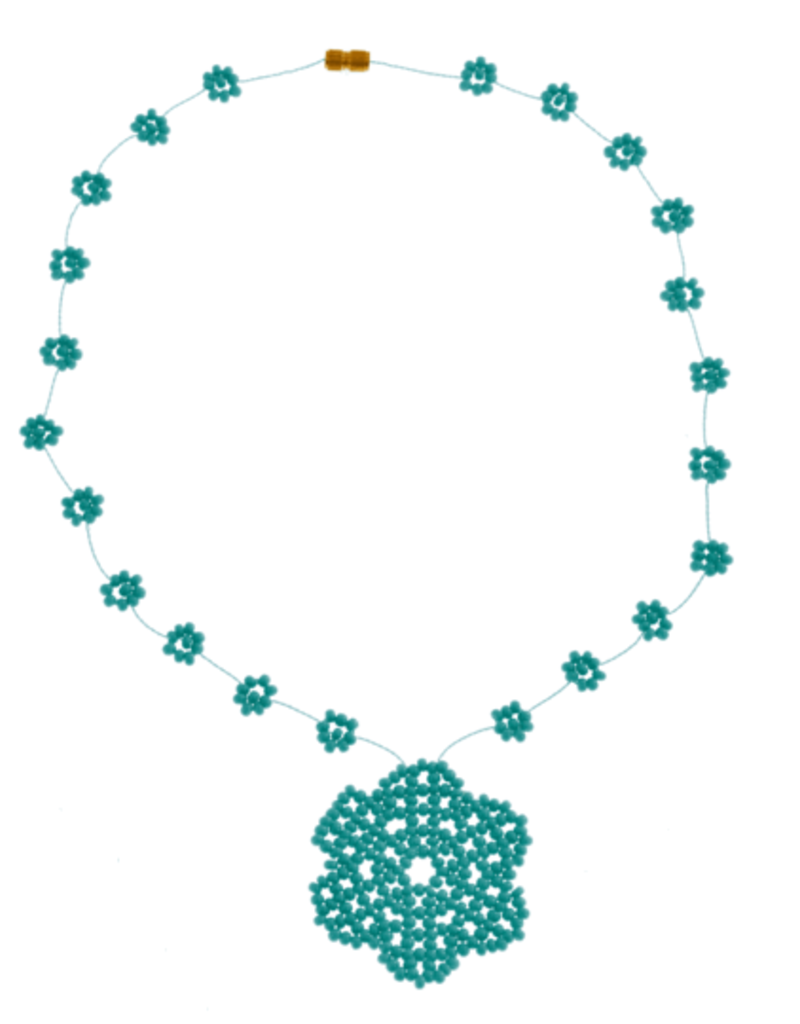 JOSEPHINE ALEXANDER Daisy chain necklace w/ flower in turq