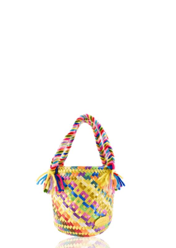 JOSEPHINE ALEXANDER Mini rainbow bucket bag in yellow