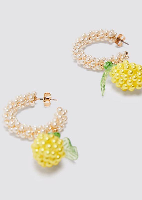 CB Designs lemon hoop earrings