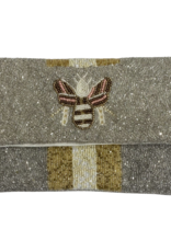 PREPPY GIRL gold/pink bee on silver bag