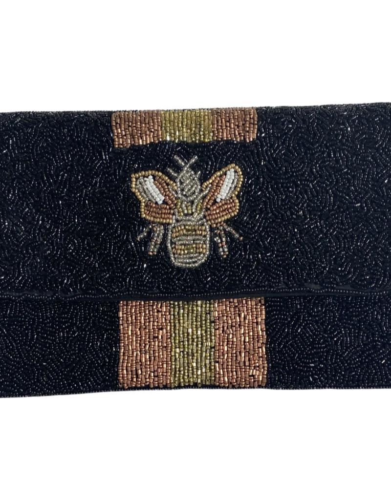 PREPPY GIRL rose gold bee on black bag