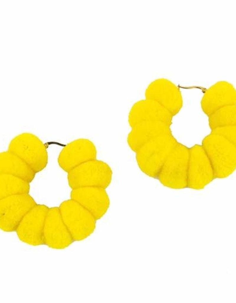 JOSEPHINE ALEXANDER Medium pom hoop in yellow