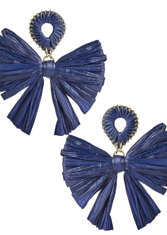 LISI LERCH straw bow earring navy
