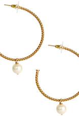 LISI LERCH carter hoop gold & drop pearl