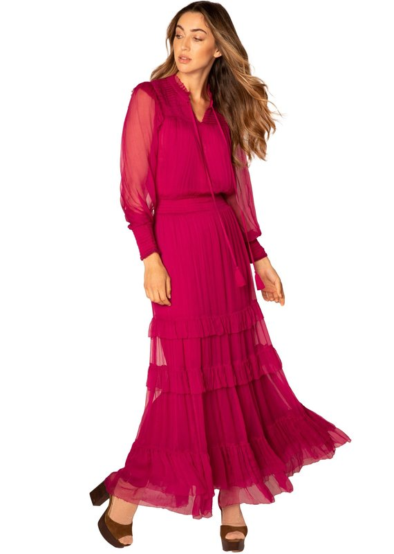 allison NY Smocked Long Ruffle /dress