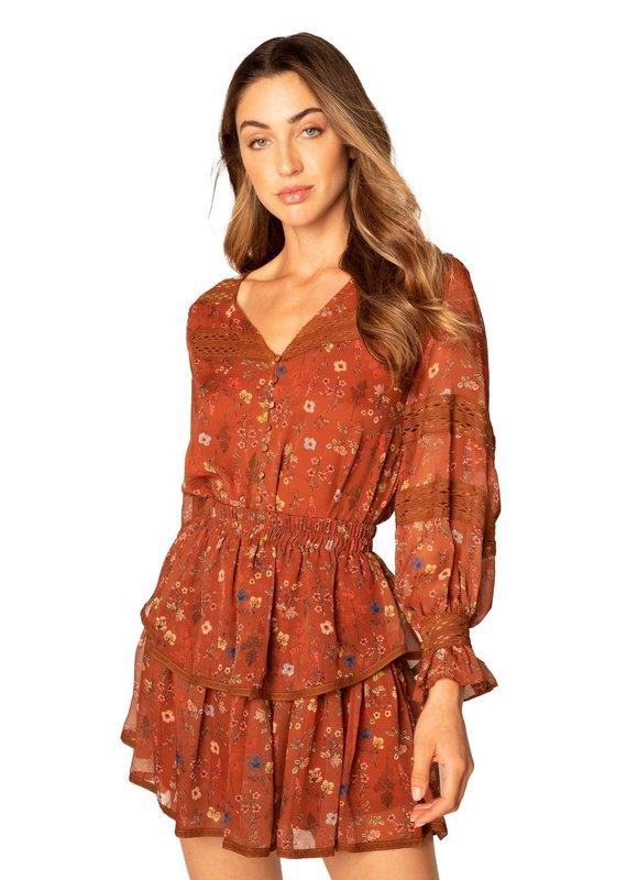 allison NY Floral mini skirt rust floral