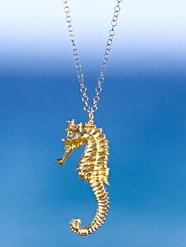 SASHA LICKLE 24KT GOLD DIPPED SEAHORSE NECKLACE