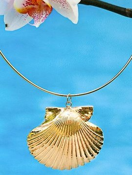 SASHA LICKLE 24KT GOLD DIPPED SCALLOP SHELL GLIDER NECKLACE