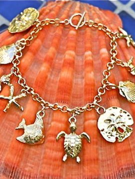 SASHA LICKLE GOLD SEA LIFE CHARM BRACELET
