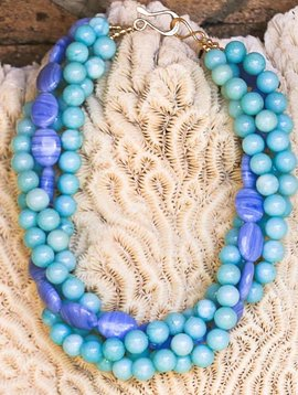BLUE AGATE & AMAZONITE STONE NECKLACE