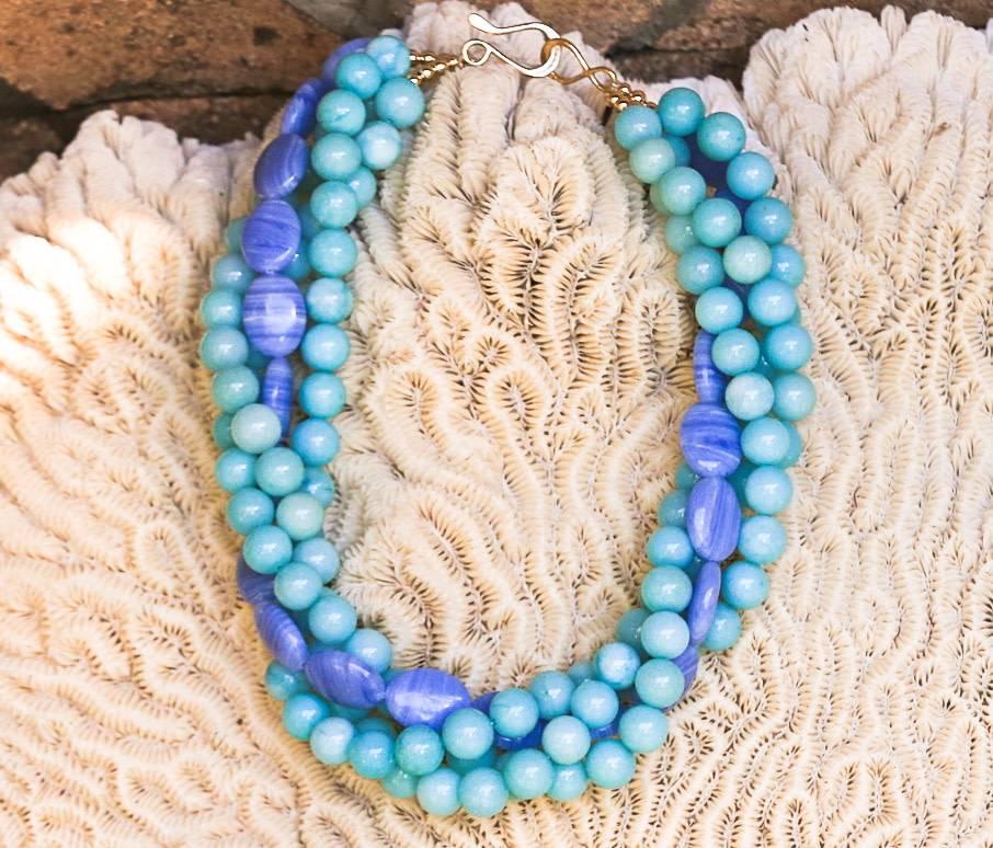 BLUE AGATE & AMAZONITE STONE NECKLACE