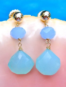 BLUE AND AQUA CHALCEDONY EARRINGS