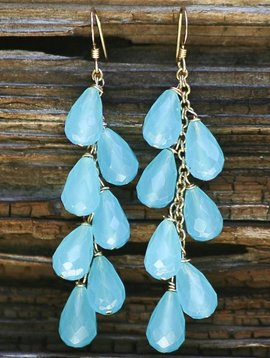 AQUA QUARTZ CLUSTER EARRINGS