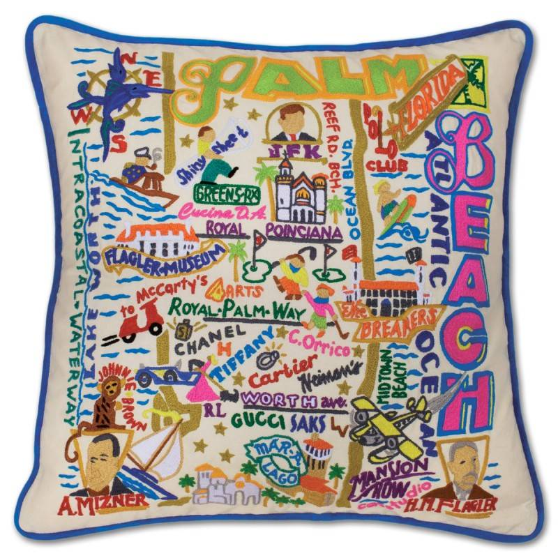 CAT STUDIOS PALM BEACH HAND-EMBROIDERED PILLOW