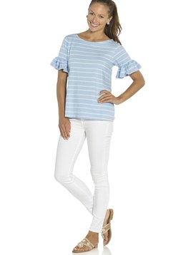 SAIL TO SABLE STRIPE RUFFLE SLEEVE TOP