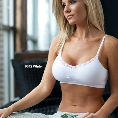 Seamless Bra V-Neck Lace Trim