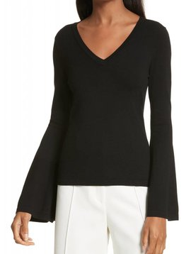 BELL SLEEVE V NECK PULLOVER SWEATER