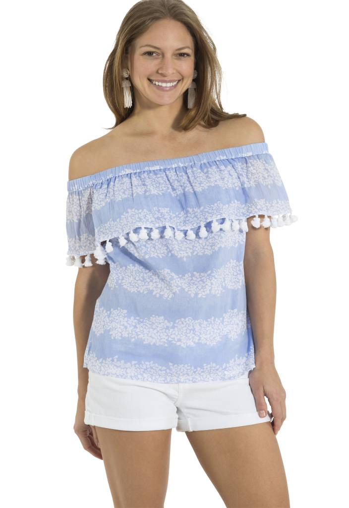 CRINKLE COTTON OFF SHOULDER TOP HYDRANGEA