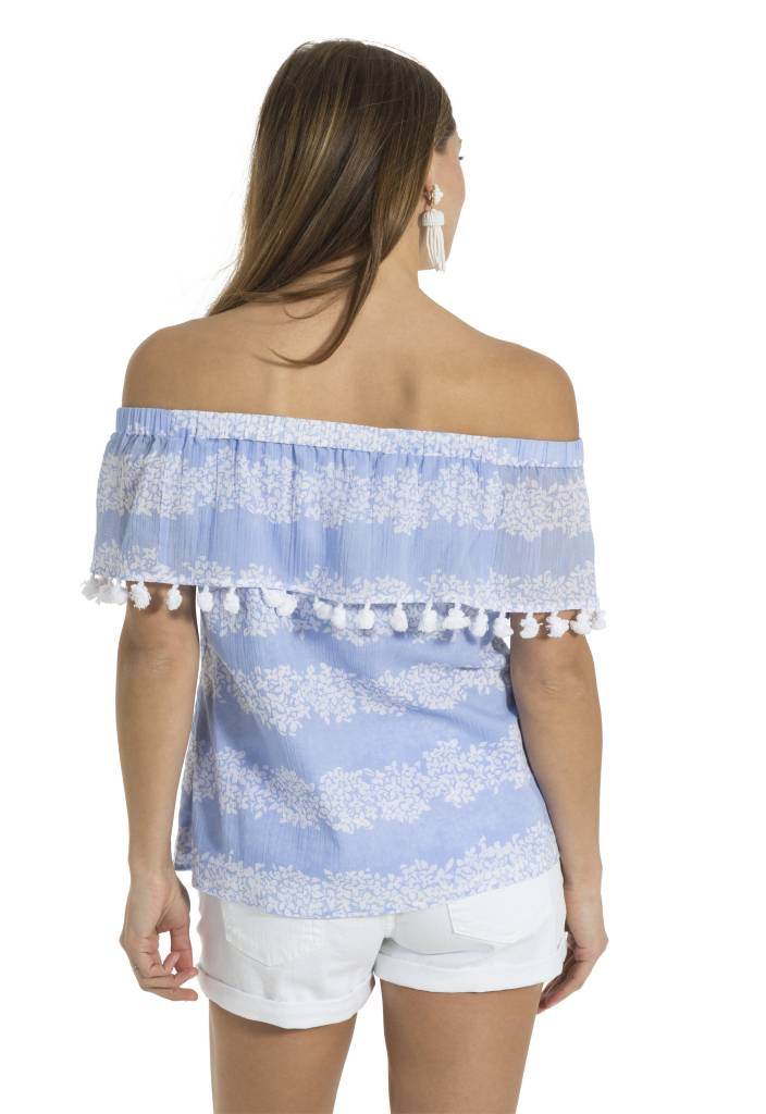 SAIL TO SABLE CRINKLE COTTON OFF SHOULDER TOP HYDRANGEA