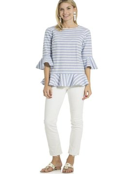 SAIL TO SABLE STRIPE COTTON LONG SLEEVE RUFFLE HEM TOP