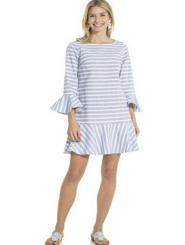 SAIL TO SABLE STRIPE COTTON LONG SLEEVE RUFFLE HEM DRESS